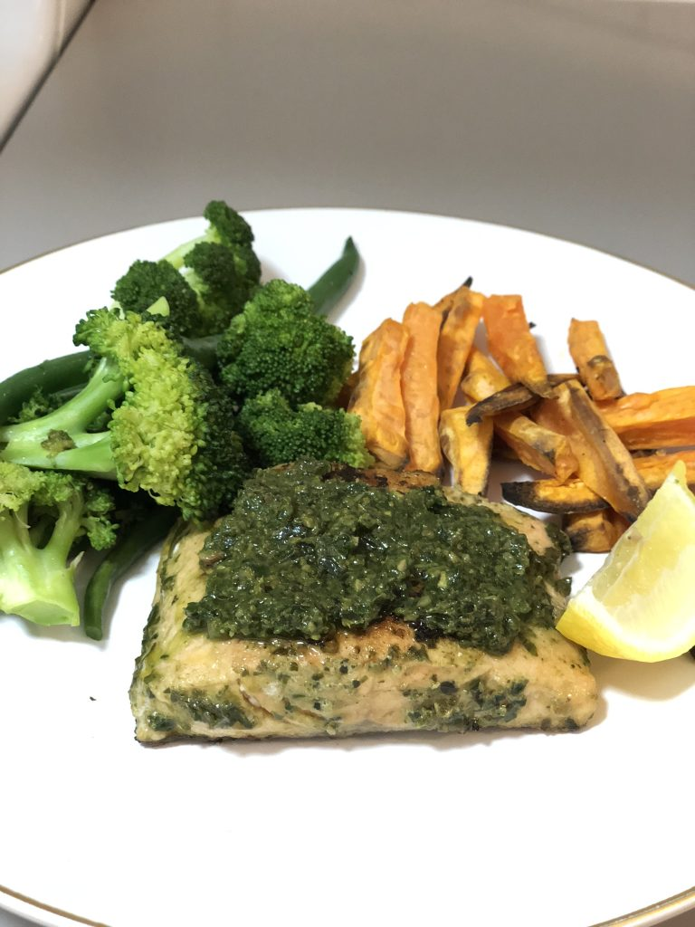 Hello Fresh Pesto Salmon with sweet potato fries and greens